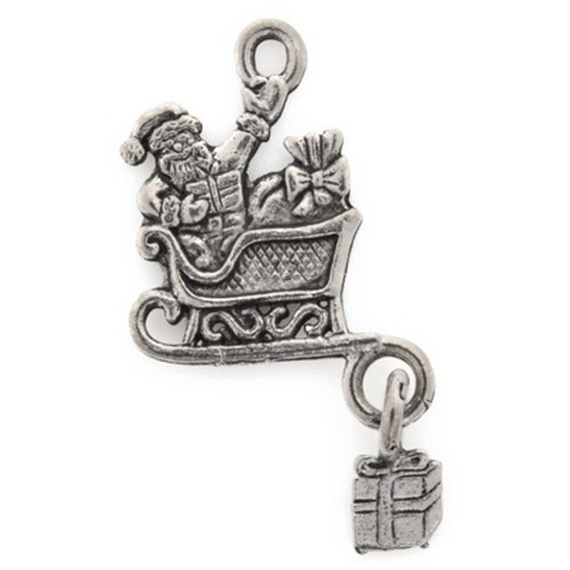Pewter-32x18mm Santa In Sleigh Charm-Antique Silver-Quantity 1