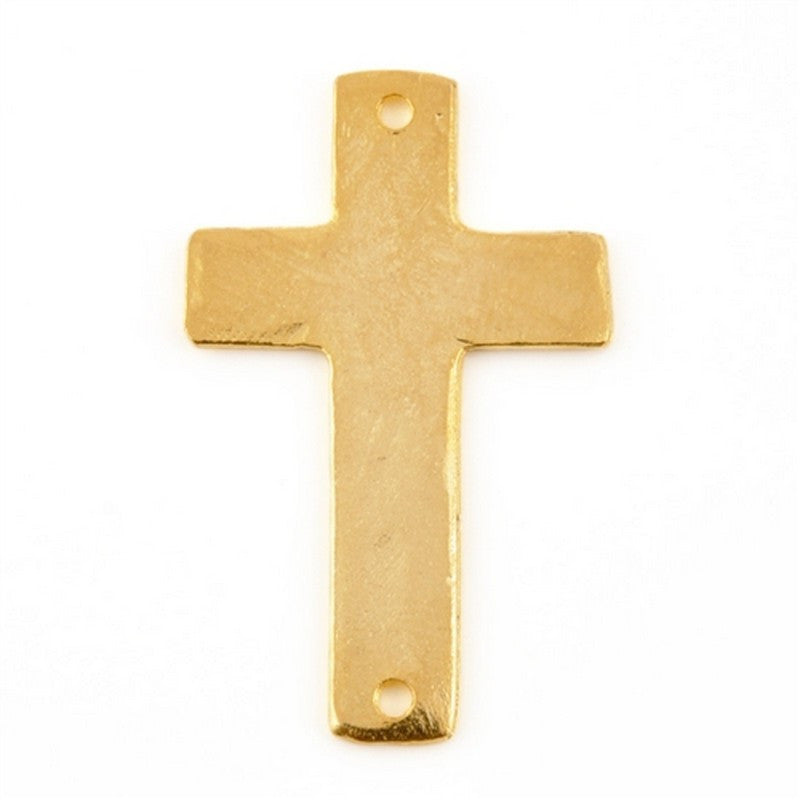 Pewter-34x21mm Cross Connector-Two Hole-Matte Gold-Quantity 1