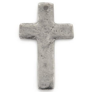 Pewter-34x21mm Cross Pendant-Single Hole-Antique Silver-Quantity 1