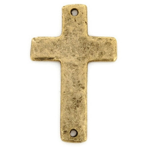 Pewter-34x21mm Cross Pendant-Two Hole-Antique Gold-Quantity 1