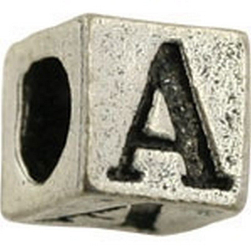 Pewter-5.5mm Block Letter A-Bead-Antique Silver-Quantity 1