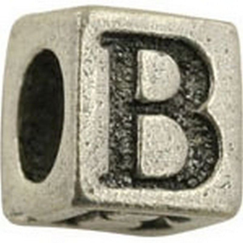 Pewter-5.5mm Block Letter B-Bead-Antique Silver-Quantity 1