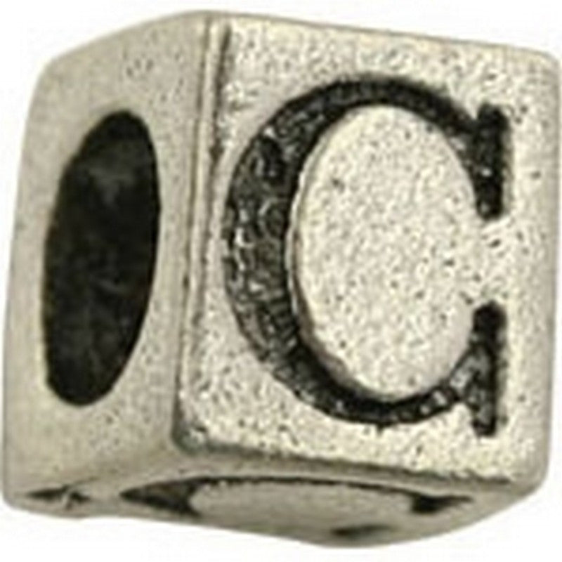 Pewter-5.5mm Block Letter C-Bead-Antique Silver-Quantity 1