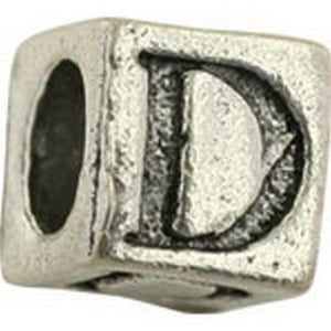 Pewter-5.5mm Block Letter-D-Bead-Antique Silver-Quantity 1