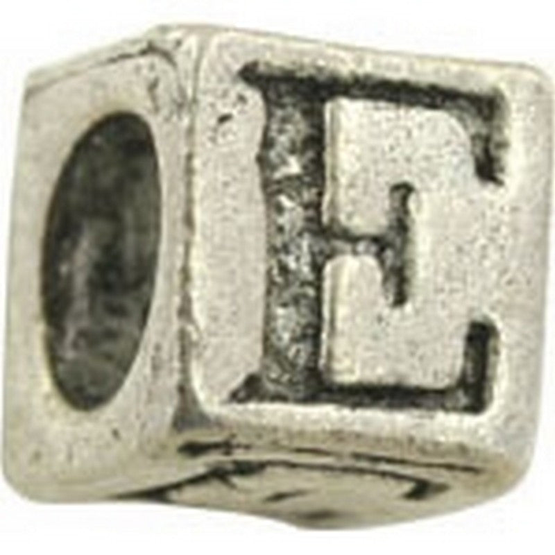 Pewter-5.5mm Block Letter-E-Bead-Antique Silver-Quantity 1