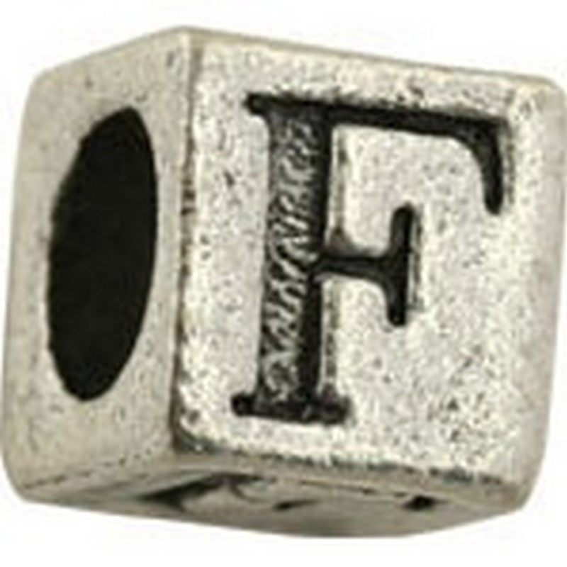 Pewter-5.5mm Block Letter-F-Bead-Antique Silver-Quantity 1