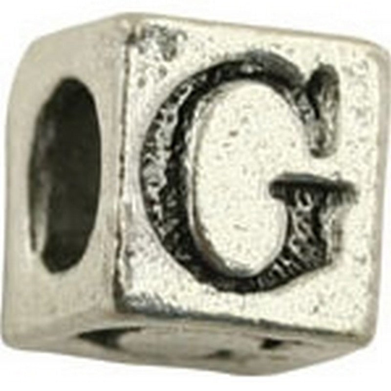 Pewter-5.5mm Block Letter-G-Bead-Antique Silver-Quantity 1