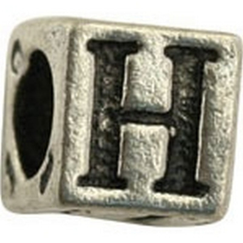 Pewter-5.5mm Block Letter-H-Bead-Antique Silver-Quantity 1