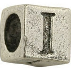 Pewter-5.5mm Block Letter-I-Bead-Antique Silver-Quantity 1