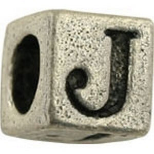 Pewter-5.5mm Block Letter-J-Bead-Antique Silver-Quantity 1