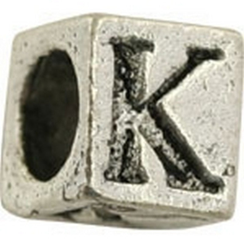 Pewter-5.5mm Block Letter-K-Bead-Antique Silver-Quantity 1