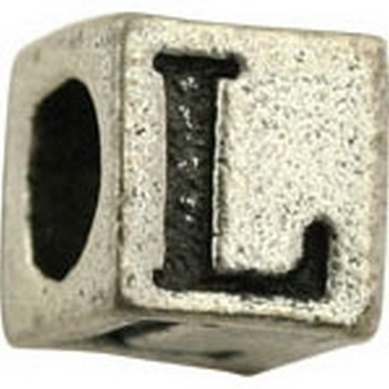 Pewter-5.5mm Block Letter-L-Bead-Antique Silver-Quantity 1