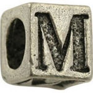 Pewter-5.5mm Block Letter-M-Bead-Antique Silver-Quantity 1