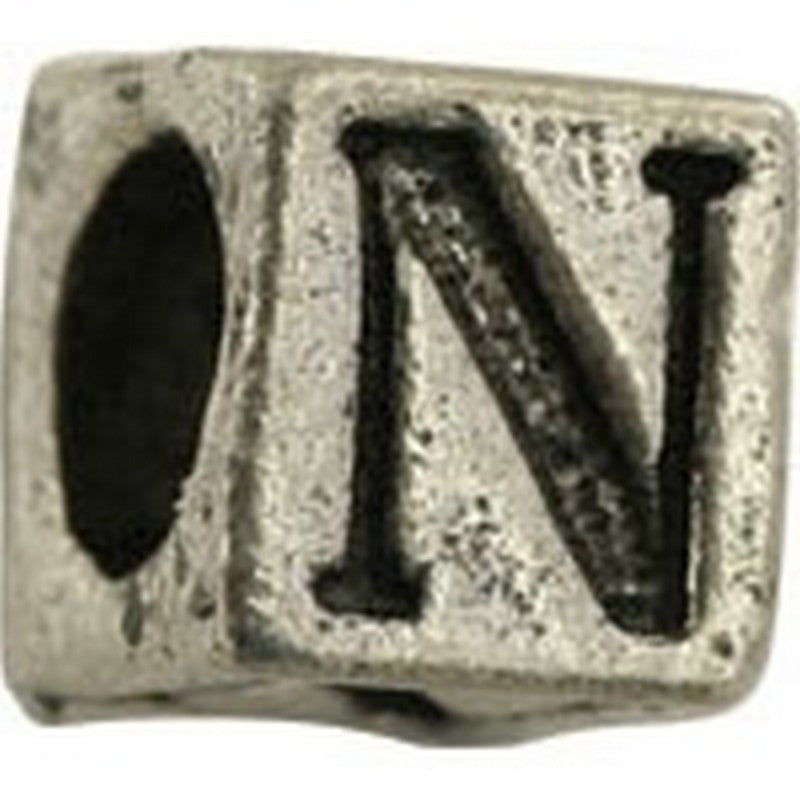 Pewter-5.5mm Block Letter-N-Bead-Antique Silver-Quantity 1