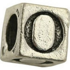 Pewter-5.5mm Block Letter-O-Bead-Antique Silver-Quantity 1
