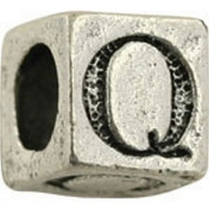 Pewter-5.5mm Block Letter-Q-Bead-Antique Silver-Quantity 1
