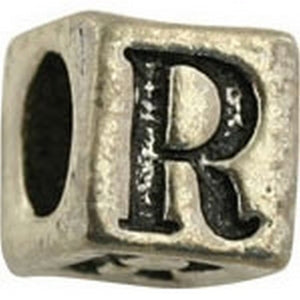 Pewter-5.5mm Block Letter-R-Bead-Antique Silver-Quantity 1