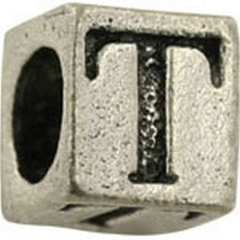 Pewter-5.5mm Block Letter-T-Bead-Antique Silver-Quantity 1