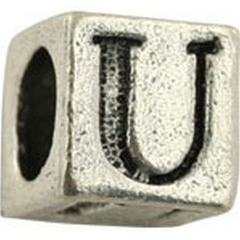Pewter-5.5mm Block Letter-U-Bead-Antique Silver-Quantity 1