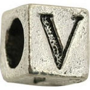 Pewter-5.5mm Block Letter-V-Bead-Antique Silver-Quantity 1