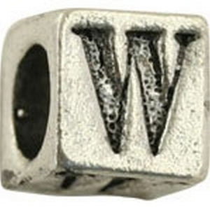 Pewter-5.5mm Block Letter-W-Bead-Antique Silver-Quantity 1