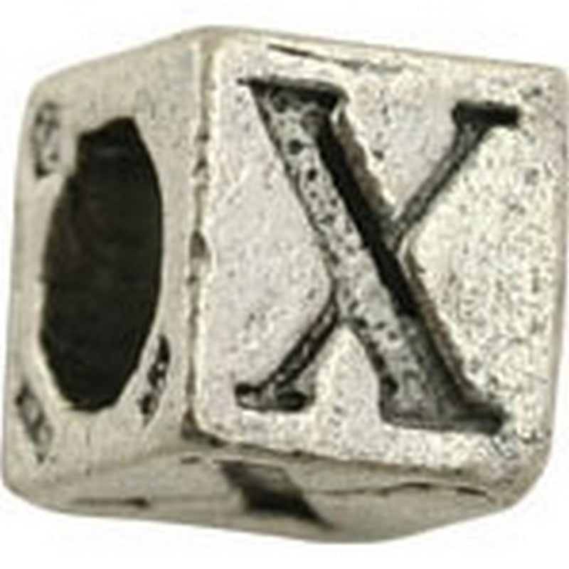 Pewter-5.5mm Block Letter-x-Bead-Antique Silver-Quantity 1