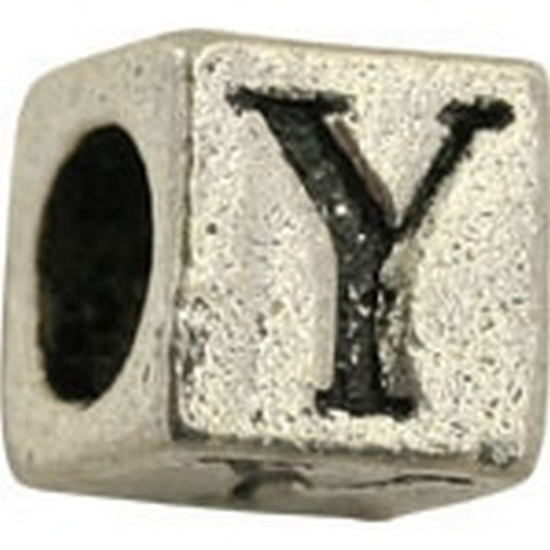 Pewter-5.5mm Block Letter-Y-Bead-Antique Silver-Quantity 1