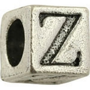 Pewter-5.5mm Block Letter-Z-Bead-Antique Silver-Quantity 1