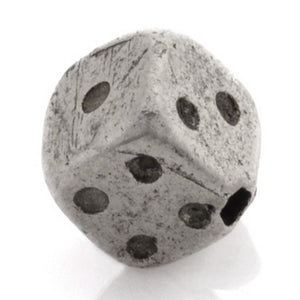 Pewter-8mm 3D Dice Bead-Antique Silver-Quantity 1