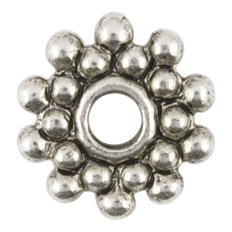 Pewter-8mm Beaded Spacer-Antique Silver