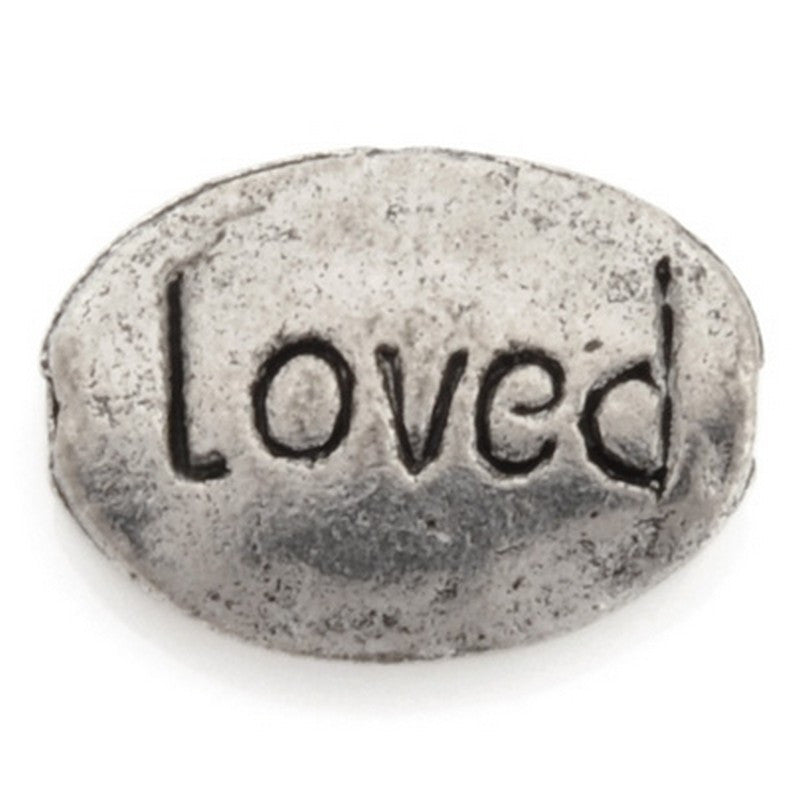 "Pewter-9x12mm ""Loved"" Bead-Antique Silver-Quantity 1"