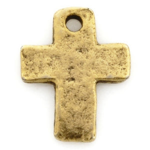 Pewter-9x12mm Tiny Cross Charm-Antique Gold-Quantity 1