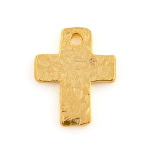 Pewter-9x12mm Tiny Cross Charm-Matte Gold