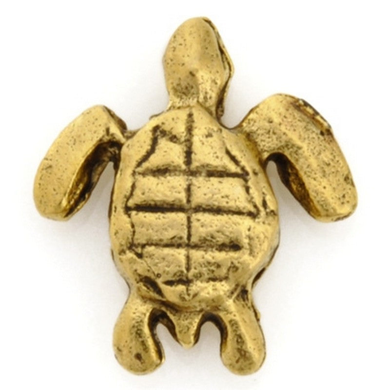 Pewter-9x14mm Turtle Bead-Antique Gold-Quantity 1