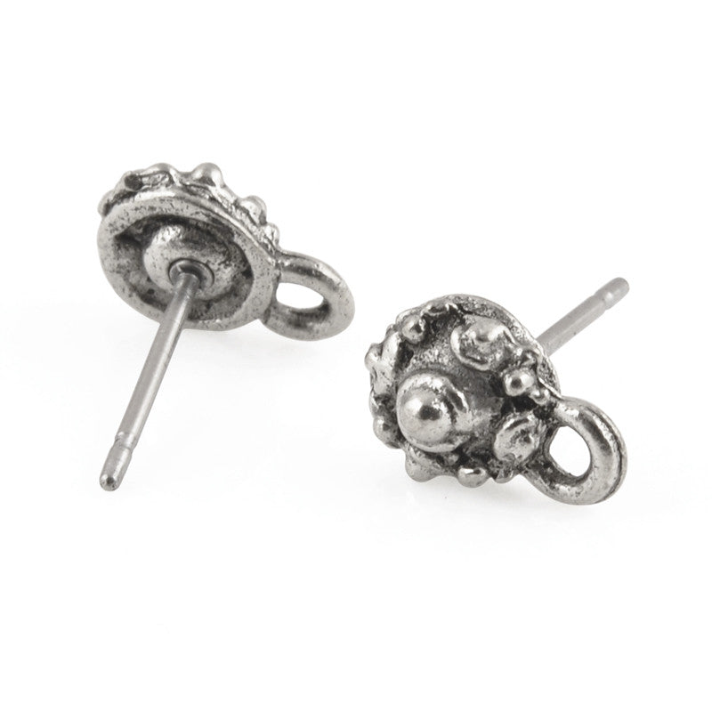Pewter Findings-6x10mm Tiny Ornate Earring Top-Antique Silver