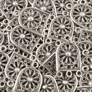 Casting-16x22mm Ornamental Connector-Antique Silver