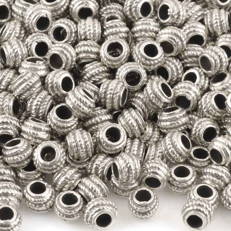 Casting Beads-5mm Tiny Rope Spacer-Antique Silver-Quantity 5