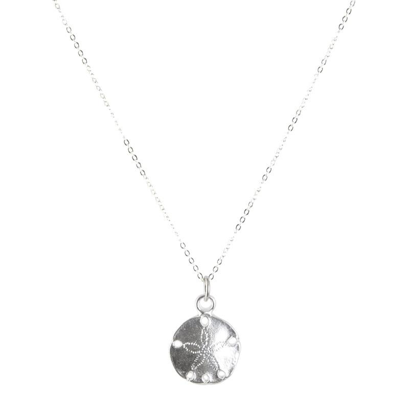 Finished Jewelry-Sand Dollar Silver Charm Necklace