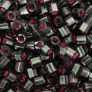 Seed Beads-1.5mm Cube-2204 Silver Lined Frosted Olivine/Pink Lined-Toho-7 Grams