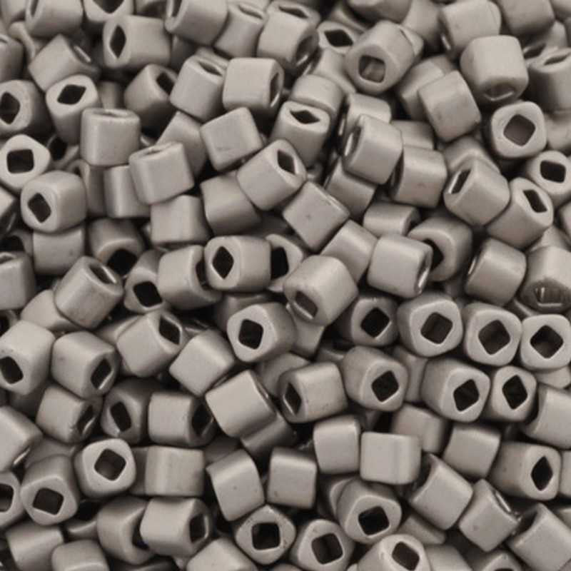 Seed Beads-1.5mm Cube-566 Metallic Silver Frosted Antique Silver-Toho-7 Grams