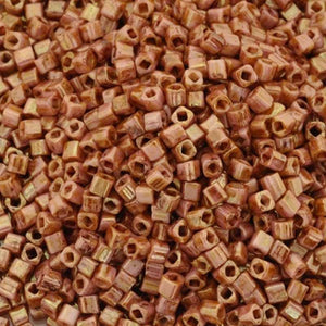 Seed Beads-1.5mm Cube-Y184 Opaque Rose Gold Topaz-Toho-15 Grams