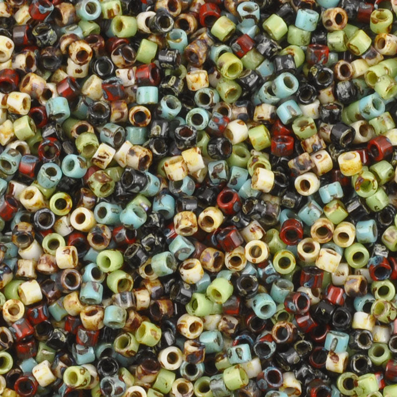 Seed Beads-11/0 Delica-011 Opaque Picasso Mix