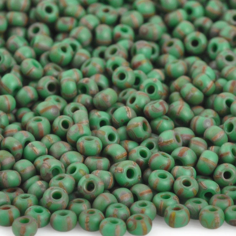 Seed Beads-11/0 Rocailles Aged-15 Green Yellow Stripe Travertine
