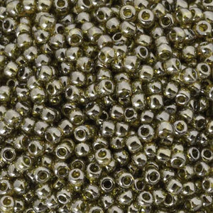 Seed Beads-11/0 Round-457 Gold Luster Green Tea-Toho-16 Grams