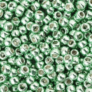 Seed Beads-11/0 Round-PF570 Permanent Finish-Galvanized Mint Green-Toho-16 Grams