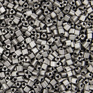 Seed Beads-11/0 Triangle-566 Metallic Frosted Antique Silver-Toho