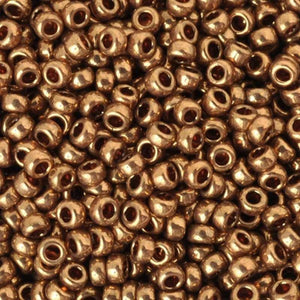 Seed Beads-15/0 Round-457L Metallic Light Bronze-Miyuki-7 Grams
