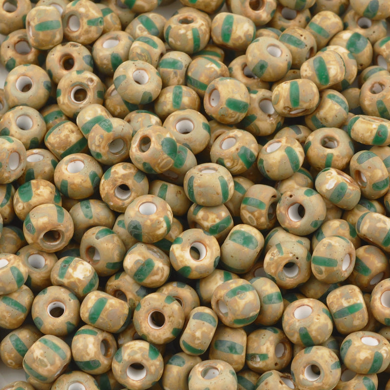 Seed Beads-2/0 Rocailles Aged Stripe-40 White Green Travertine-Czech-7 Grams