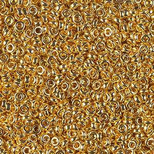 Seed Beads-2.2mm Spacer-191 24Kt Gold Plated-Miyuki