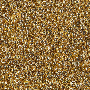 Seed Beads-2.2mm Spacer-193 24Kt Gold Light Plated-Miyuki